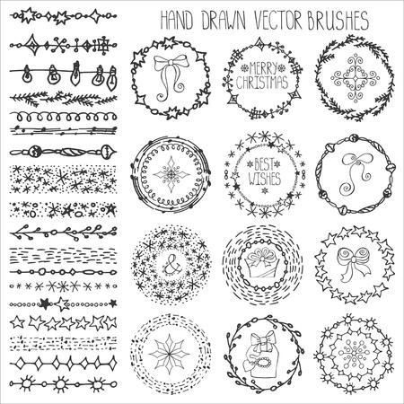 Kerst Hand getrokken patroon borstels. Nieuwjaar doodle texturen, sneeuwvlokken, sterren, artistieke sieraad. Decoratie vector set. Cirkelframe krans met wintersymbolen. Gebruikte penselen inbegrepen Stock Illustratie