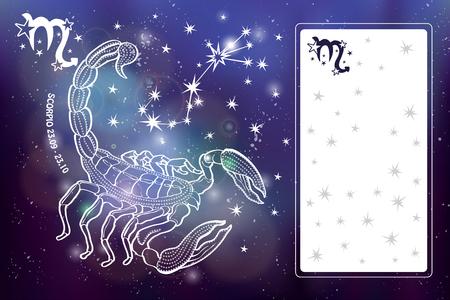 Schorpioen sterrenbeeld. Horoscoop sterrenbeeld, sterren. Abstracte ruimte donkere lucht wazig achtergrond met stippen sterren, glanzende bokeh. Vector wetenschap achtergrond. Symbool, astrologie illustratie, Scorpio silhouet