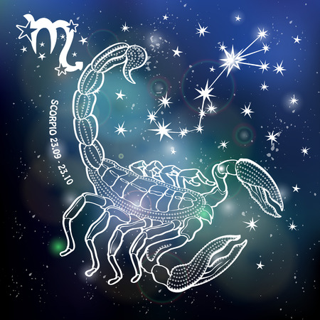 Scorpio Zodiac sign. Horoscope constellation,stars.Abstract space dark sky blurred background with dots stars,shiny bokeh.Vector science background.Symbol, Astrology Illustration,Scorpio silhouette