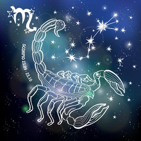 Scorpio  Zodiac sign. Horoscope constellation,stars.Abstract space dark sky blurred background with dots stars,shiny bokeh.Vector science background.Symbol, Astrology Illustration,Scorpio silhouette Ilustração