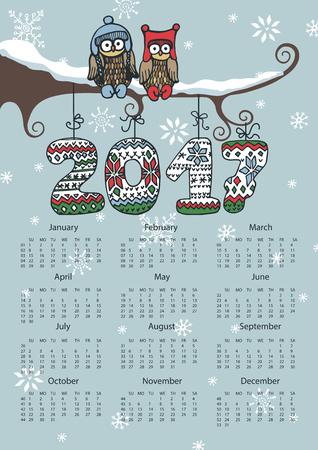 Kalender 2017 met Owl paar op branch.VEctor Nieuwjaar poster. Brei nummers, sneeuwvlokken. Teken van seizoenen, handgemaakte symbool. Vakantie winter achtergrond. Week begint vanaf zondag, Amerikaanse. Verticale Stock Illustratie