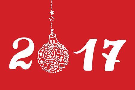 Gelukkig Nieuwjaar 2017 wenskaart, uitnodiging, banner met Kerstmis hand tekening bal, nummers. Witte letters op rode achtergrond. Vakantie Vector achtergrond, behang.