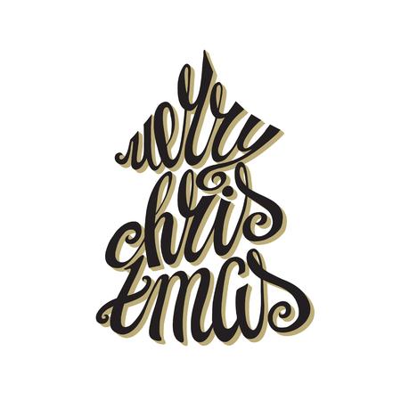 Kerst wenskaart. Merry Christmas vector handgeschreven letters. Uitstekende achtergrond met volume zwarte woorden. De vorm van de kerstboom met zwart woord. Het ontwerp van de omtrek. Retro Illustartion
