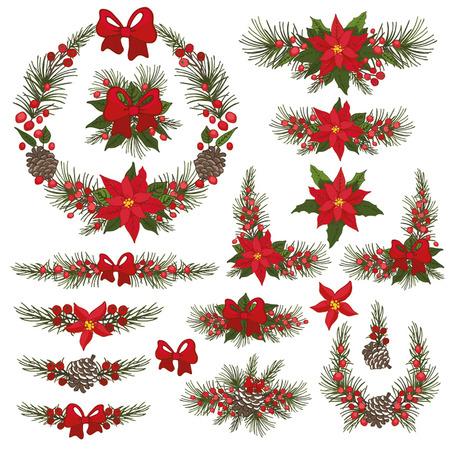 Prettige kerstdagen en gelukkig Nieuwjaar krans, groep, grens. Moderne platte decor elementen voor uitnodigingen, afdrukken, feb, kaart, banner. Kerst feestelijke vector