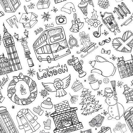 London Winter Vector naadloze patroon met landmark, symbolen. Hand getrokken doodle schetsmatig. Big Ben, rode bus, Brits teken, kerst symbolen, Nieuwjaar elementen, sneeuwvlokken. Engeland vintage pictogrammen, achtergrond, behang