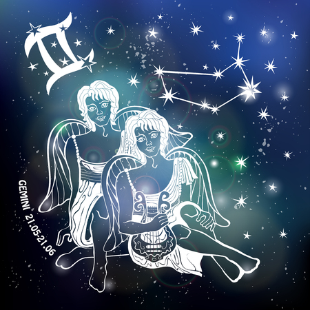 Tweeling dierenriemteken. Twaalf Horoscoop sterrenbeeld, sterren. Abstracte ruimte donkere lucht wazig achtergrond, sterren, glanzende bokeh. Vector wetenschap achtergrond. Symbool, astrologie illustratie, Gemini jongens silhouet