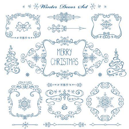 Kerstmis, Nieuwjaar decor elementen instellen. Vintage wextor frames, grenzen. Doodles sneeuwvlokken, swirls.For ontwerpsjablonen, uitnodigingen en bruiloft. Valentijnsdag, vakantie, menu en verjaardag. Winter decoratie