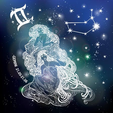 Gemini Zodiac sign.Twins Horoscoop sterrenbeeld, sterren. Abstracte ruimte donkere hemel wazige achtergrond, sterren, glanzende bokeh.Vector science background.Symbol, Astrologie Illustratie, Tweeling vrouw silhouet Stock Illustratie