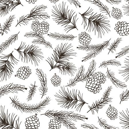 Kerstboom groene takken, denneappel op naadloze patroonachtergrond Uitstekende Vector. Fir, vuren ontwerpelement voor achtergrond, behang, wrap.New jaar vakantie vector Stock Illustratie