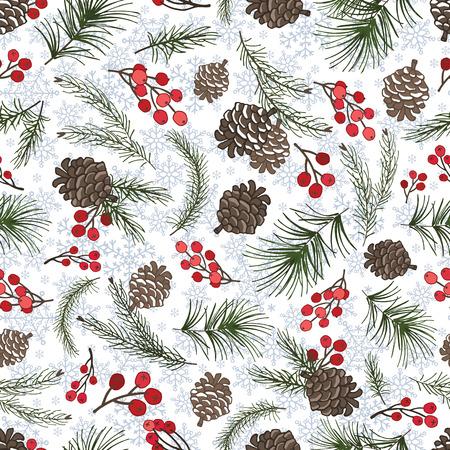 Kerstboom groene takken, dennenappel, sneeuw, rode bessen in naadloze patroon achtergrond. Fir, vuren ontwerpelement voor achtergrond, behang, wrap. Nieuwe jaar vakantie vector