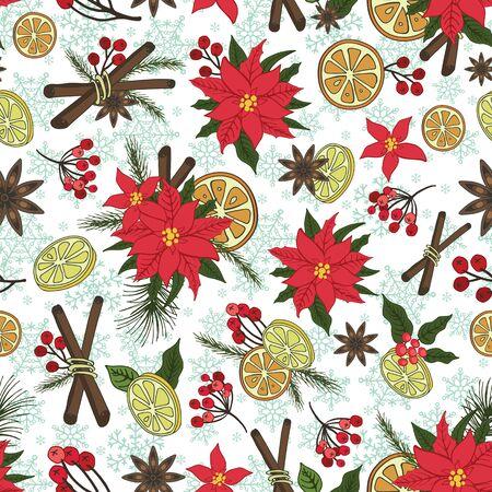 Merry Christmas samless patroon. Nieuwjaar, Winter doodles symbolen. Vector. Fel boom brances, Poinsettia bloemen, citrus, cinamon, pittig lekker, sneeuwvlokken achtergrond achtergrond. Platte vakantie decoratio
