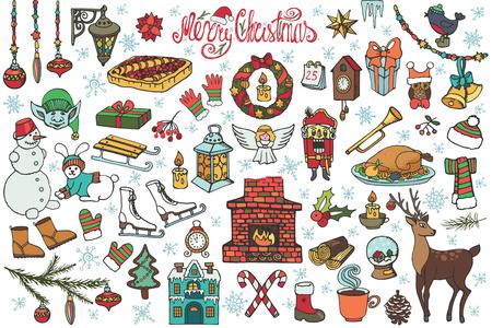 Kerst seizoen doodle set. Vintage vector. Winter decoratie, nieuwe jaar doodle elementen. Sneeuwvlokken, voedsel, sneeuwman, open haard, gebreide slijtage en vakantie symbolen. Hand getekend geïsoleerd. Kerst vakantie