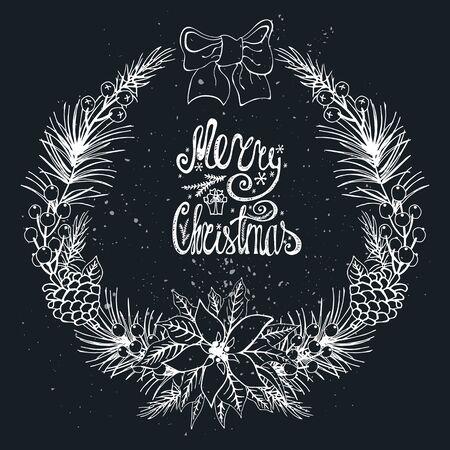 Kerstmis groet card.New jaar, Winter seizoen doodles krans met citrus, kerst bloemen en spice.Fir boom brances, Poinsettia bloemen, warm, lekker Schoolbord achtergrond. decoratie van de vakantie Stockfoto - 69527754