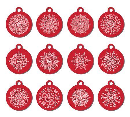 Kerst bal tags, nieuwjaars geschenk. Sneeuw decor, grenzen, scheidingslijnen. Cyaan decor elementen, pattrn. Perfect kaart set. Vector Kerstmis, winter illustratie. Achtergrond van de verjaardag