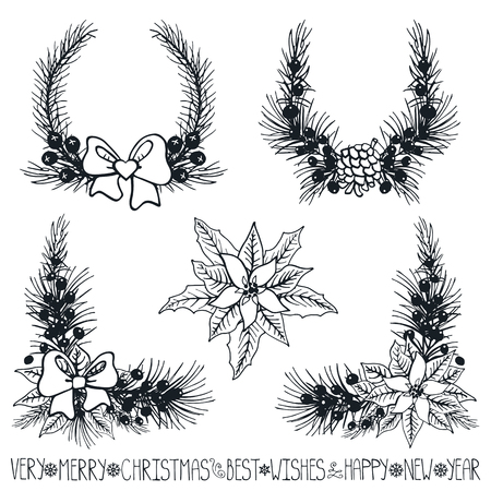 Merry Christmas and new year decoationr set.Spruce fir tree branches,Poinsettia flowers,pine cones,berries,holly,ribbons with lettering,holiday composition,wreath silhouette.Vector Illustration.Isolated 向量圖像