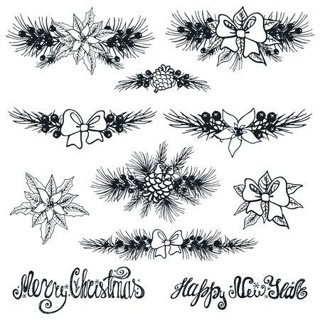 Vrolijke Kerstmis en Nieuwjaar grenzen decoationr set. Grove dennenboom takken, Poinsettia bloemen, dennenappels, bessen, holly met belettering, vakantie samenstelling, silhouette.Vector Illustration.Isolated Stock Illustratie