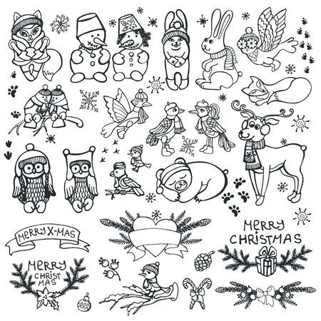 Kerst dieren set. Vectorillustratie Vectir Nieuwjaar hand tekenen doodles. Leuke cartoon vogels, dieren. Grappige bos winter instellen voor ontwerpsjabloon. Nieuwjaar vector. Kerstboom decoratie Stock Illustratie