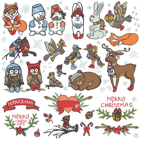 Set van Kerstmis dieren. Leuke cartoon vogels, dieren Grappige bos winter set voor ontwerpsjabloon. Nieuwjaar vector Stock Illustratie