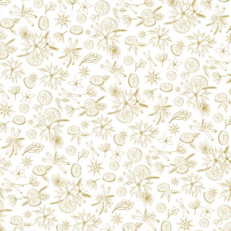 decoratio: Merry Christmas pattern background.New year,Winter doodles symbols. Vector.Fir tree brances,Poinsettia flowers,citrus,cinamon,spicy tasty, backdrop.Flat holiday decoratio