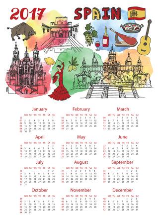 Kalender 2017 Nieuwe jaar. Spanje Beroemde bezienswaardigheden panorama en Spaanse symbolen. Aquarel plons, doodle schetsmatig ... Vakantie Vector achtergrond, Europese gaas. Verticale