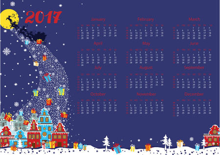 date night: Calendar 2017.New year,Christmas.Santa Claus coming to the city and throws gifts.Moon background,winter landscape. Flat Vector illustration.Horizontal