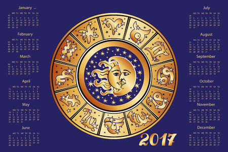 Het nieuwe jaarkalender van 2017. Horoscoopcirkel met Dierenriemteken. Constellatie, sterren, astrologiesymbolen, maan en zon Blauwe achtergrond, gouden silhouet Vakantie vectorillustratie. Stock Illustratie
