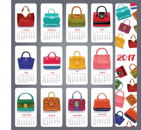 Kalender 2017 nieuwe jaar. Mode vrouwen handtassen set. Casual en feestelijke veelkleurige pictogrammen. Mode illustratie, vector collectie. Geïsoleerd object met schaduw op witte achtergrond en patroon banner