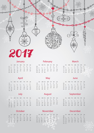 Kalender 2017 met Kerstmis bal en slingers. Sierlijke wervelende decor. Nieuwjaars Vector achtergrond. Week begint vanaf zondag, Amerikaanse. Verticale Stock Illustratie
