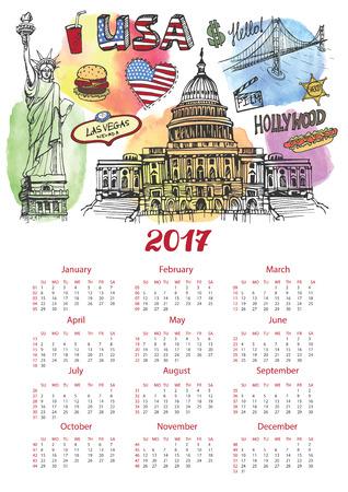 Kalender 2017 New year.USA.American symbolen Vrijheidsbeeld, Brooklyn Bridge, vlag, taxi. Doodle hand getrokken schets. Watrcolor splash. Vector landmark, retro illustratie, achtergrond Stock Illustratie