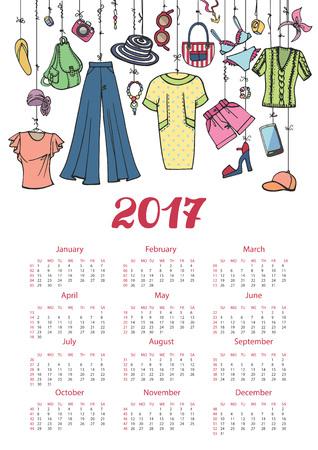 Mode illustration.Calendar 2017 nieuwe jaar. Vector hand getrokken modieuze vrouwen kleding en accessoires opknoping op touw. Achtergrond, ontwerpsjabloon. Zomer vakantie slijtage Stock Illustratie