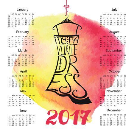 Kalender 2017 jaar.Typografie jurk ontwerp, aquarel splash.Lettering in silhouet van kleine zwarte jurk, citaten Mijn favoriete jurk. Wervelende curven lettertype. Roze achtergrond. Mode vectorillustratie.