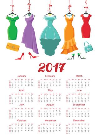 Kalender 2017 met vrouw fashion.Colored jurken op een hanger en accessoires set. Zomerfeest. Nieuwjaar vakantie vectorillustratie, achtergrond. Week begint vanaf zondag, american.Vertical