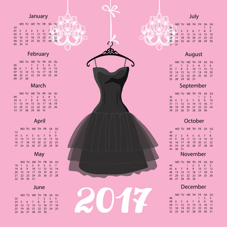 Het jaar van kalender 2017. Zwart Kledingsontwerp Silhouet van vrouw weinig zwarte kleding met kroonluchter en getallen Roze achtergrond De vectorillustratie van de manier.