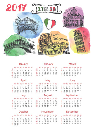 Kalender 2017 Nieuwjaar.Italië Beroemde bezienswaardigheden panorama, skyline.Watercolor splash, doodle schetsmatig.Coliseum, Vaticaanstad, bruggen van Venetië, toren van Pisa.Holiday Vector achtergrond en Europese mesh.Vertical Stock Illustratie