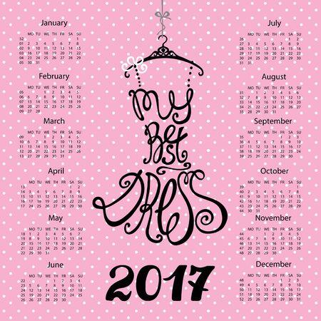 Kalender 2017 jaar. Zwarte jurk belettering Design.Vector Silhouet van vrouw kleine zwarte jurk. Tip mijn beste jurk. Roze achtergrond met polka dot. Mode vectorillustratie. Stock Illustratie