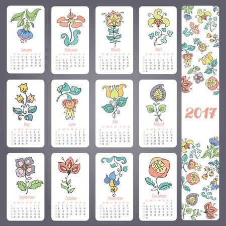Kalender 2017 nieuwe jaar. Krabbels bloemen in pastel kleuren. Hand tekenen decor elementen. Vintage maandelijks kaarten. Retro vectorillustratie