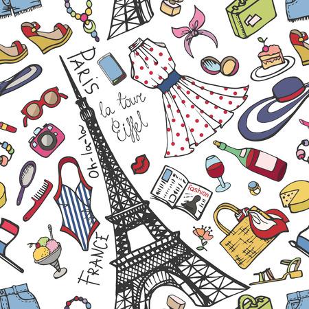Paris France fashion seamless pattern.Summer Womancolored wear 向量圖像