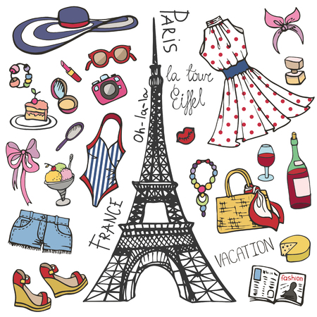 Parijs Frankrijk mode Zomer set.Woman, meisje gekleurde slijtage Stockfoto - 75144310