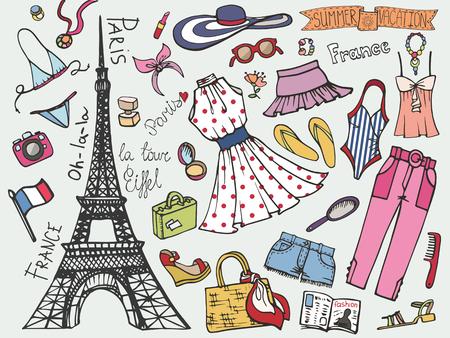 Paris Frankrijk mode zomervakantie set. Dames gekleurde slijtage Stock Illustratie