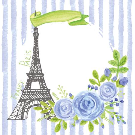 Paris vintage card.Eiffel tower,Watercolor blue  rose,strips