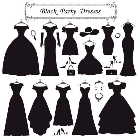 Silhouet van zwarte feestjurken. Modieuze flat Stock Illustratie