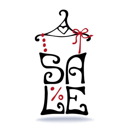 Verkoop belettering. Sjaal op hanger. Typografisch ontwerp