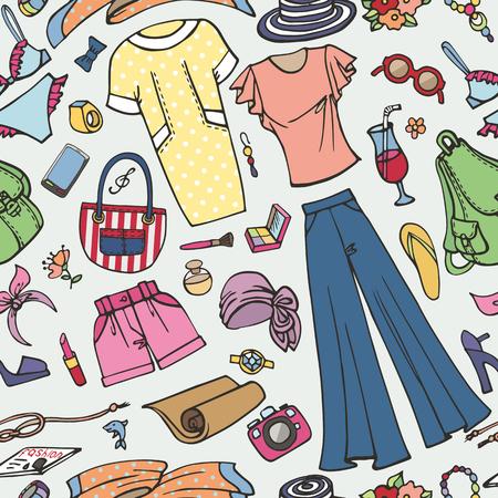 Summer fashion seamless pattern woman colored wear.