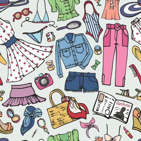 Sammer mode naadloze patroon vrouw gekleurde slijtage. Stock Illustratie