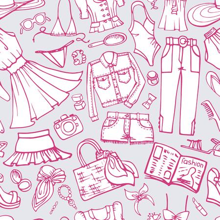 Summer fashion seamless pattern woman wear doodle.