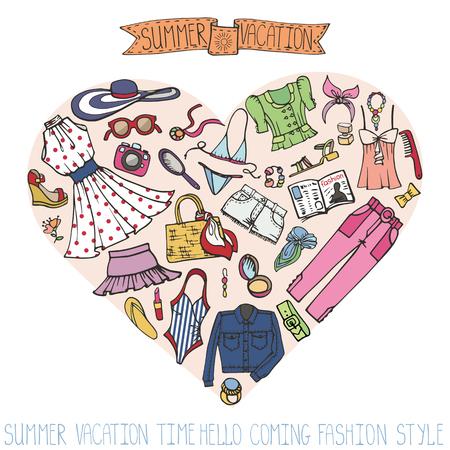 Sammer-manierset. Vrouw, gekleurde slijtage in hart Stock Illustratie
