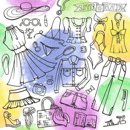 Zomer mode set.Woman, meisje dragen, Watercolor stein.
