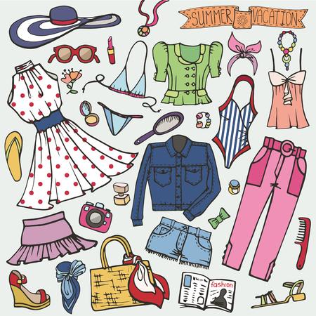 Summer fashion set.Woman,girl colored wear 向量圖像