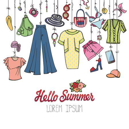 Zomer mode. Vrouwelijke kleurrijke vakantie slijtage hangend op touw Stock Illustratie
