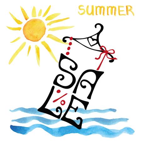 Summer Sale lettering.Shirt,watercolor sun,sea wave.Typographic